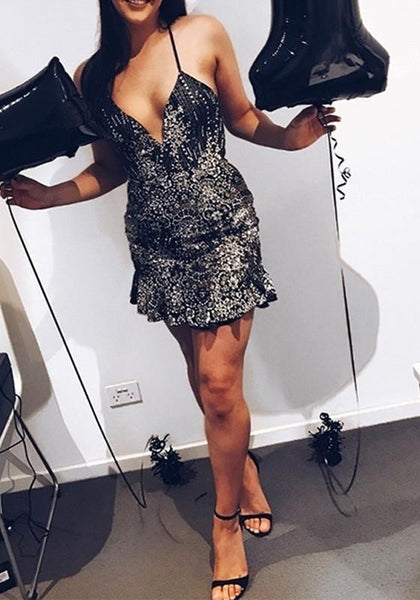 Black Patchwork Sequin Ruffle Tie Back V-neck Mini Dress