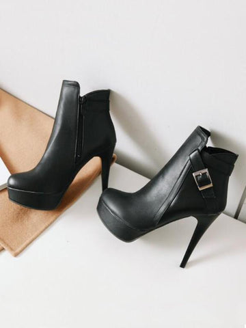 New Black Round Toe Stiletto Buckle Fashion Ankle Boots
