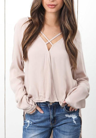 Apricot Cut Out High-low V-neck Long Sleeve Casual T-Shirt