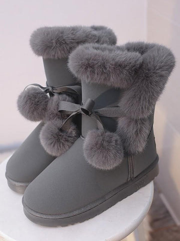 New Grey Round Toe Flat Faux Fur Furball Fashion Ankle Boots