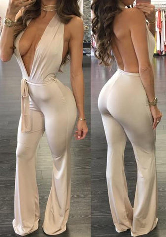 Apricot Belt Deep V-neck Backless Halter Neck Wide Leg Palazzo Pants Long Jumpsuit