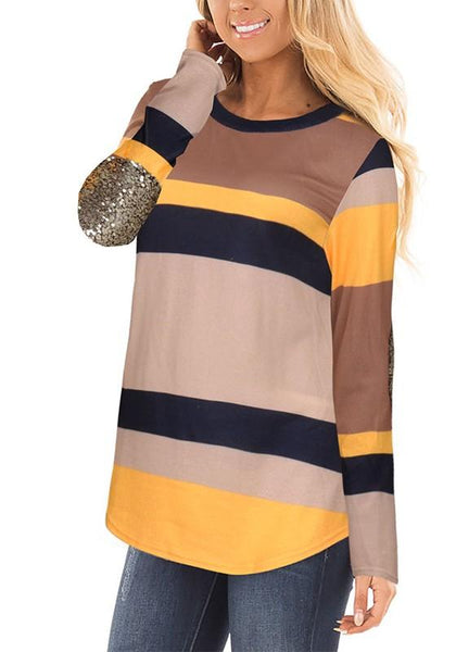 Yellow-Black Striped Sequin Round Neck Casual T-Shirt