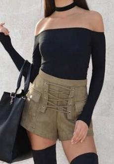 Army Green Pockets Zipper Sewing High Waisted Slim Shorts
