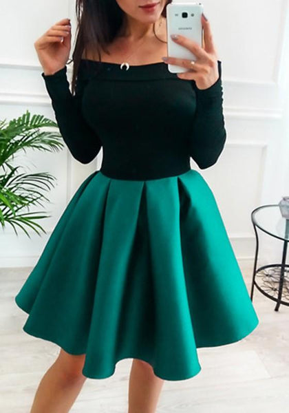 Green Patchwork Off Shoulder Pleated Two Piece Tutu Skater Cute Party Mini Dress