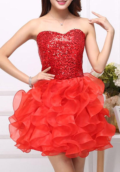 Red Patchwork Irregular Ruffle Sequin Grenadine Sleeveless Mini Dress