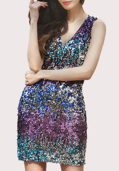 Blue Colorful Sequin V-neck Sleeveless Mini Dress