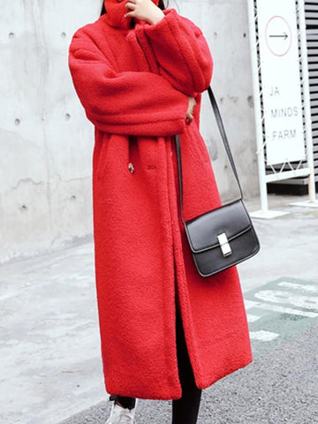 New Red Pockets Turndown Collar Long Sleeve Fashion Coat