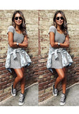 Grey Striped Round Neck Short Sleeve Mini Dress