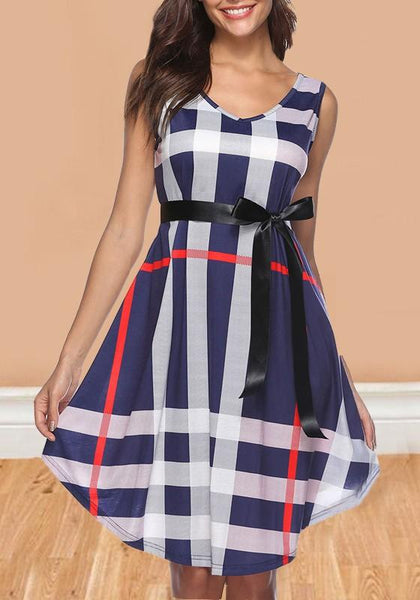 Blue Plaid Pattern Sashes Bowknot A-line V-neck Sleeveless Casual Midi Dress