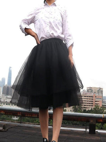 5cd3dc53c1 New Black Grenadine Pleated Plus Size Fluffy Puffy Tulle High Waisted  Homecoming Party Fashion Tutu Midi