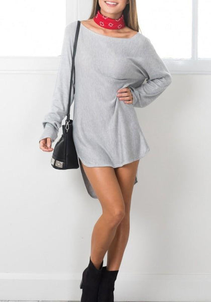 New Grey Irregular High-low Round Neck Long Sleeve Mini Dress
