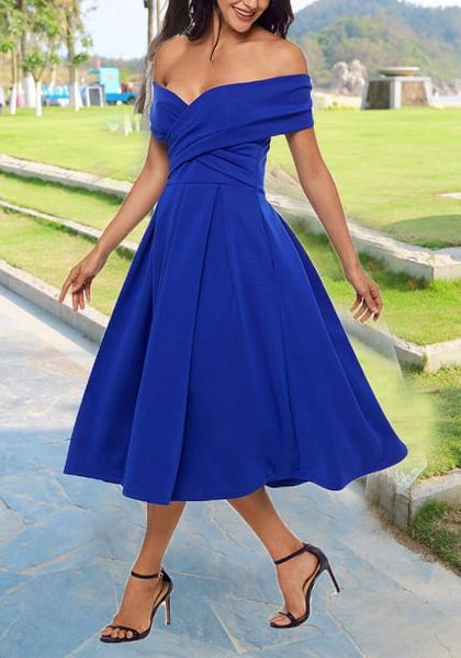 Blue Pleated Off Shoulder Lace-up Ruched Tutu Homecoming Party Banquet Elegant Midi Dress