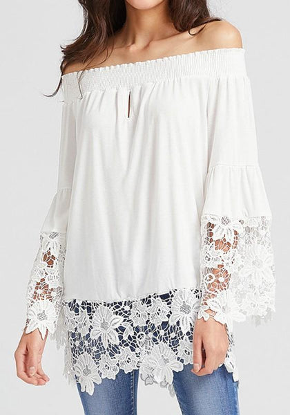 White Patchwork Lace Boat Neck Long Sleeve Loose Blouse