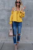 Off Shoulder Long Sleeve Ruffle Chiffon Blouse
