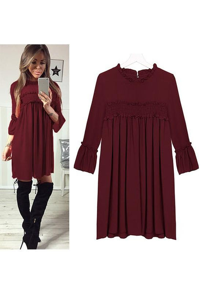 Burgundy Pleated Round Neck Three Quarter Length Sleeve Midi Dress