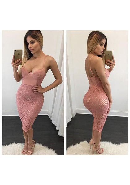 Pink Patchwork Lace Deep V-neck Spaghetti Strap Club Midi Dress