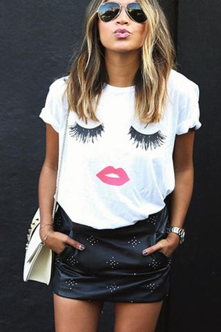 Eyelash & Lips Cotton Tee