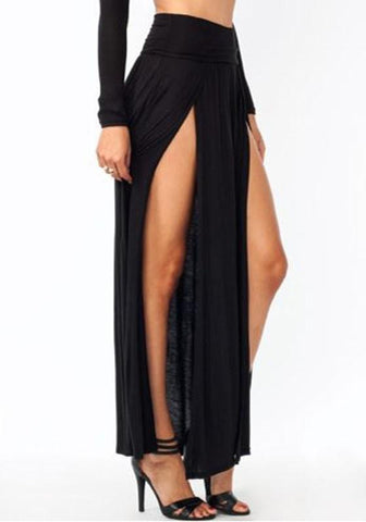 All Black Irregular Double Slit Floor Length Fashion Beach Maxi Skirt