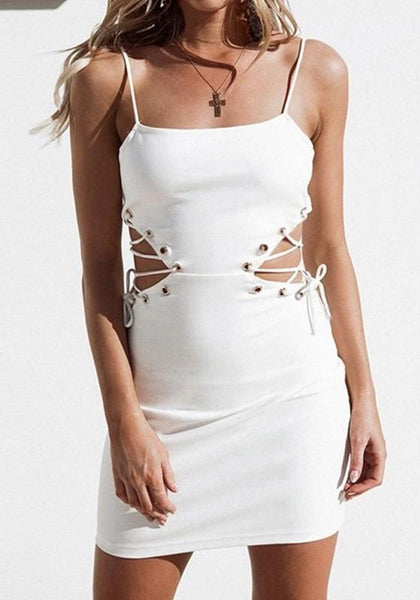 White Drawstring Condole Belt Cut Out Round Neck Mini Dress