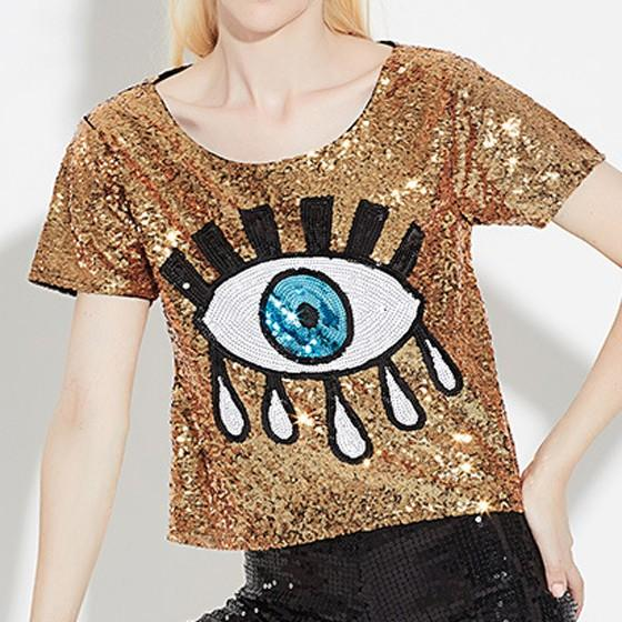 Golden Patchwork Eyes Print Sparkly Short Sleeve Casual T-Shirt