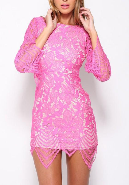 Pink Patchwork Print Lace Zipper Irregular Round Neck Mini Dress