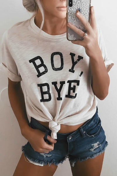 Round Neck Letters Printed White T-shirt