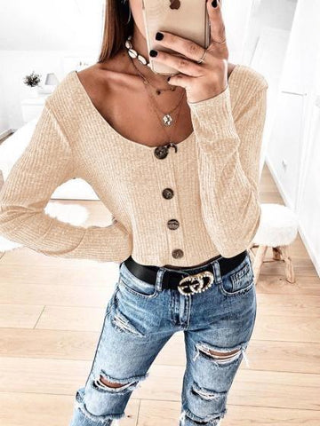 Beige Ribbed Button Placket Front Long Sleeve Women Crop Top