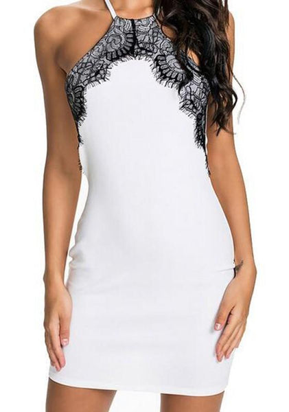 White Patchwork Lace Round Neck Mini Dress