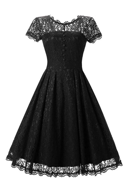 Black Patchwork Lace Buttons Short Sleeve Fashion Midi Dress