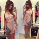 Pink Floral Condole Belt Ruffle Embroidery Mini Dress