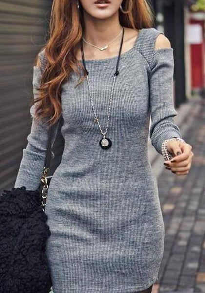 Grey Cut Out Square Neck Long Sleeve Mini Dress
