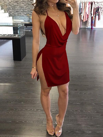 New Burgundy Side Slit Spaghetti Strap Plunging Neckline Bodycon Clubwear Party Mini Dress