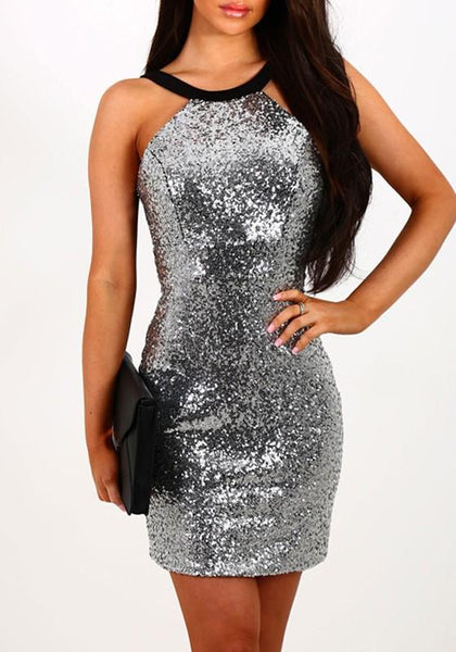 Silver Patchwork Sequin Backless Round Neck Clubwear Homecoming Mini Dress