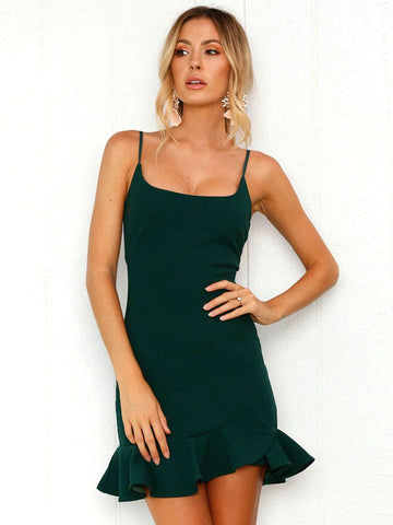 Dark Green Off Shoulder Straps Slim Solid Dress