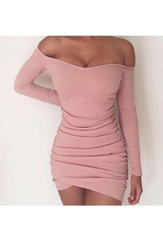 Pink Pleated Irregular Boat Neck Long Sleeve Mini Dress