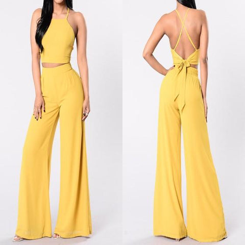 Yellow Tie Back Two Piece High Waisted Wide Leg Long Jumpsuit
