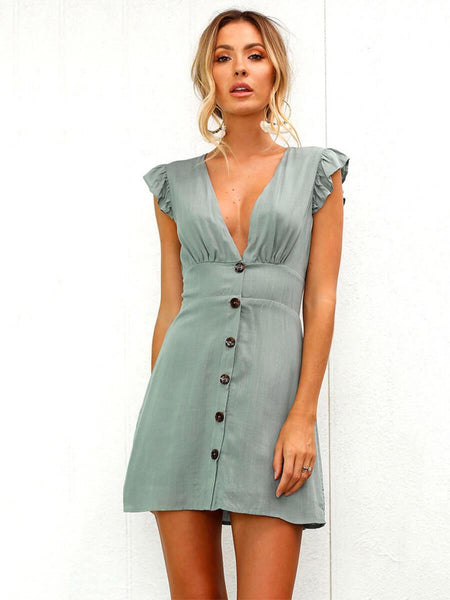 Sexy Solid V-Neck Button Sleeveless Dress