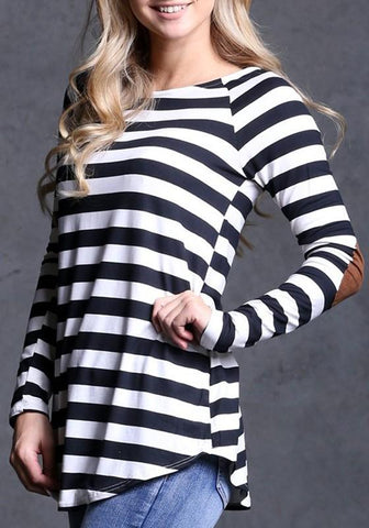 New Black Striped Irregular Round Neck Long Sleeve T-Shirt