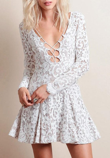 White Floral Lace Drawstring Plunging Neckline Long Sleeve Mini Dress