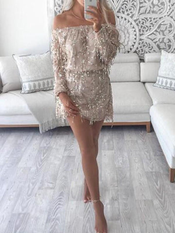 New Apricot Patchwork Tassel Sequin Off Shoulder Backless Sparkly Birthday Party Mini Dress
