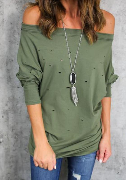 Green Cut Out Boat Neck Long Sleeve Fashion T-Shirt