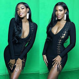 Black Cut Out Irregular Lace-up Bodycon Long Sleeve Club Mini Dress