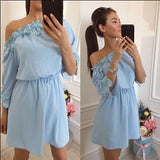 Light Blue Patchwork Lace Boat Neck 3/4 Sleeve Mini Dress