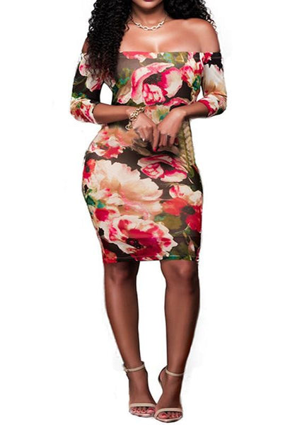 Red Flowers Print Bandeau Off Shoulder Half Sleeve Bodycon Mini Dress