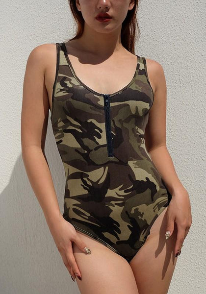 Army Green Camouflage Print Zipper One Piece Bohemian Beachwear Swimwear