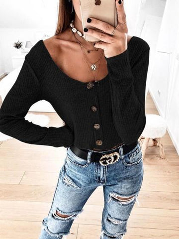 Black Ribbed Button Placket Front Long Sleeve Women Crop Top