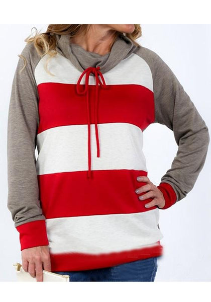 Red-Grey Striped Drawstring High Neck Long Sleeve Oversize Sweatshirt