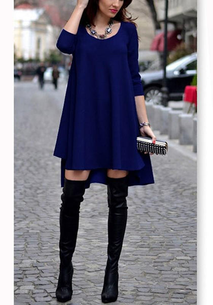 Sapphire Blue Plain Round Neck Loose Mini Dress