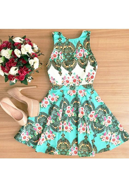 Sky Blue Floral Zipper Pleated Round Neck Mini Dress