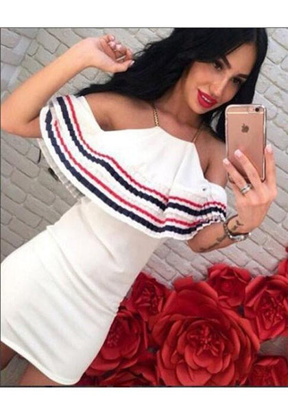 White Patchwork Ruffle Chain Spaghetti Strap Backless Slim Clubwear Cute Graduation Mini Dress
